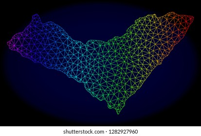 Rainbow colored mesh vector map of Alagoas State isolated on a dark blue background. Abstract lines, triangles forms map of Alagoas State. Carcass model for patriotic purposes.