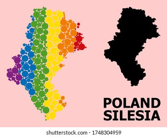 Rainbow colored mosaic vector map of Silesia Province for LGBT, and black version. Geographic mosaic map of Silesia Province is combined from scattered circle spots.
