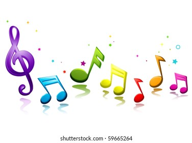 Rainbow Colored Musical Notes - Vector