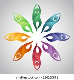 Rainbow colored ornament with symbols of yoga pose tree