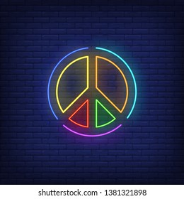 Rainbow colored peace emblem neon sign. Round, circle, lgbt. Vector illustration in neon style for bright banners, light billboards, gay pride flyers