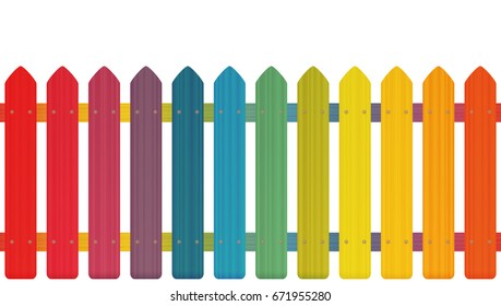 Rainbow colored picket fence with wooden texture, seamless extendable to endless pattern - isolated vector illustration on white background.