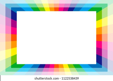 Rainbow colored radiation square frame, picture frame, background material wallpaper, copy space, title space, message space,
