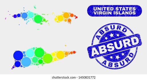 Rainbow colored spotted American Virgin Islands map and seal stamps. Blue round Absurd textured seal stamp. Gradiented spectral American Virgin Islands map mosaic of scattered small spheres.