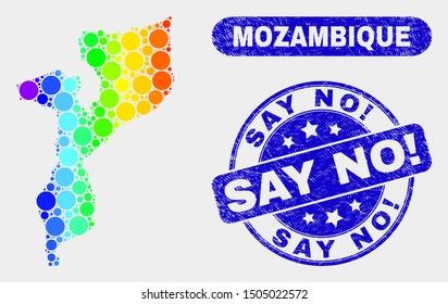 Rainbow colored spotted Mozambique map and stamps. Blue round Say No! scratched seal stamp. Gradiented rainbow colored Mozambique map mosaic of random round dots. Say No! seal with scratched texture.