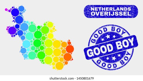 Rainbow colored spotted Overijssel Province map and rubber prints. Blue round Good Boy grunge watermark. Gradiented rainbow colored Overijssel Province map mosaic of scattered round spots.