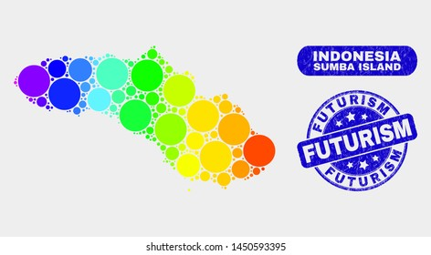 Rainbow colored spotted Sumba Island map and seals. Blue round Futurism distress seal stamp. Gradiented spectrum Sumba Island map mosaic of scattered round dots.