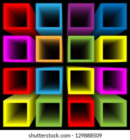 Rainbow colored square tubes set vector background