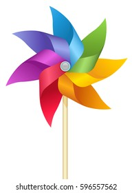 Rainbow colored vector windmill illustration.
