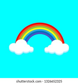 Rainbow Colorful and cloud illustration.vector