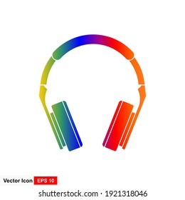 Rainbow colorful headphones in isolation on a white background.