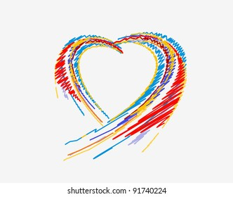 rainbow colorful lines crossing each other on heart shape ,vector illustration