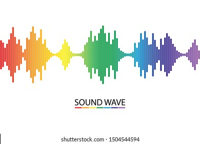 Rainbow colorful sound wave on white background. Audio Music signal symbol. musical pulse player. Vector illustration in flat design.