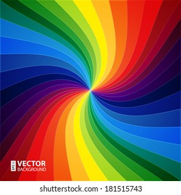 Rainbow colorful warped stripes background. RGB EPS 10 vector illustration