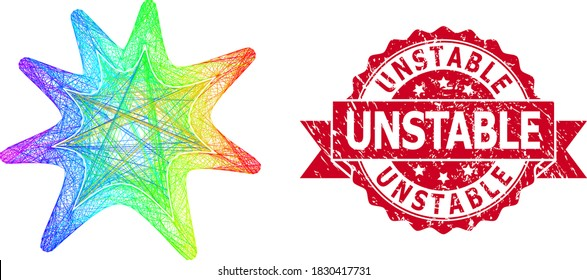 Rainbow colorful wire frame exploding boom, and Unstable corroded ribbon seal print. Red stamp seal has Unstable text inside ribbon.Geometric wire frame flat network based on exploding boom icon,