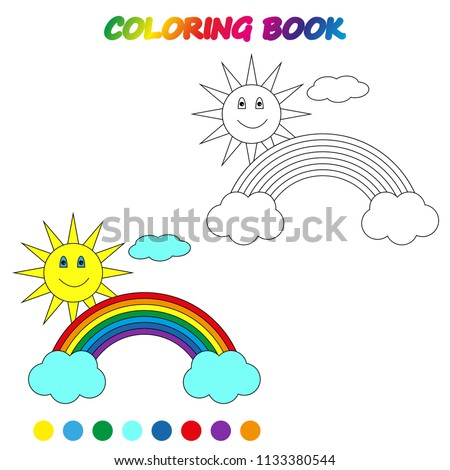 Rainbow Coloring Page Worksheet Game Kids Stock Vector (Royalty Free ...