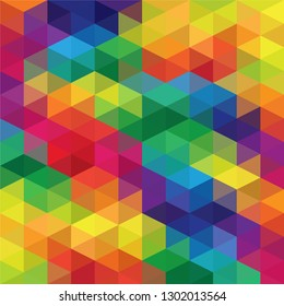 Rainbow colors abstract triangular grid pattern