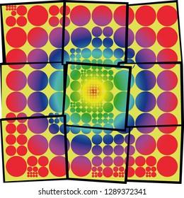 Rainbow colors broken dots vector pattern