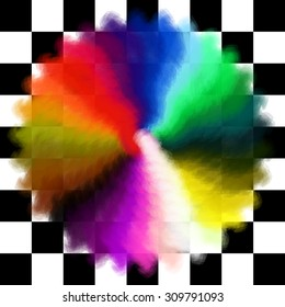 Rainbow colors circle on checked background