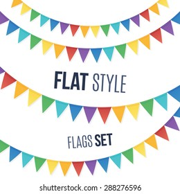 Rainbow colors flat style vector holiday flags garlands set on white background