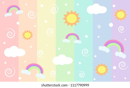 rainbow colors and suns
