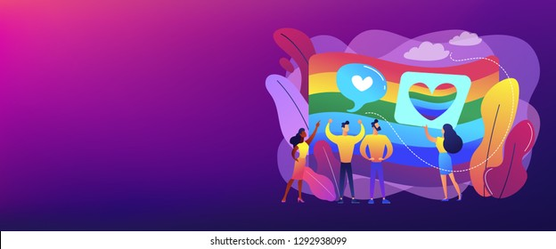 Rainbow coloured flag and LGBT community demonstration with hearts. Sexuality and gender identity, sexual orientation, LGBT movement concept. Header or footer banner template with copy space.