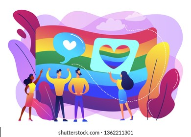 Rainbow coloured flag and LGBT community demonstration with hearts. Sexuality and gender identity, sexual orientation, LGBT movement concept. Bright vibrant violet vector isolated illustration