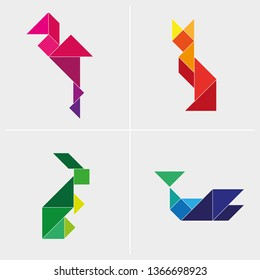 Rainbow colourful origami tangram animals