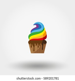 Rainbow Cupcake. Icon for web and mobile application. Vector illustration on a white background. Flat design style