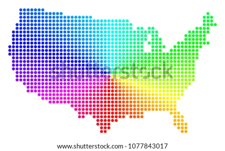 Rainbow Dotted USA Map Vector Geographic Stock Vector (Royalty Free ...