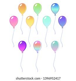 Rainbow elements of magic balloons. Isolated vector illustration.