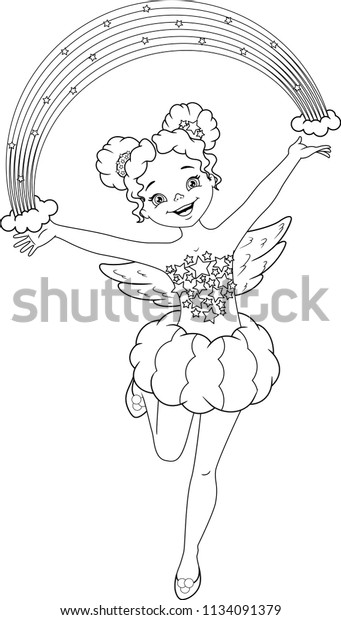 Rainbow Fairy Coloring Page Stock Vector (Royalty Free) 1134091379