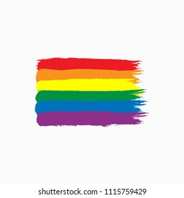 Rainbow flag of LGBT community drawn by hand with rough brush. Sketch, grunge, watercolor, paint. Isolated vector Illustration.