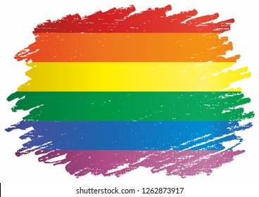 Rainbow flag, representing LGBT pride. (lesbian, gay, bisexual, and transgender). LGBT movement. Template for design. Bright, colorful vector illustration.