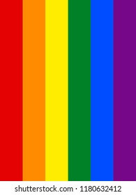 Rainbow flag in vertical, The most widely known worldwide is the pride flag representing LGBT pride. (lesbian, gay, bisexual, and transgender)