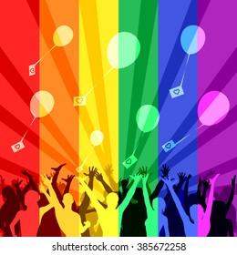 Rainbow flash mob - Happy people launch balloons