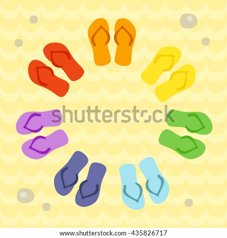 rainbow flip flops circle on sand stock vector royalty free