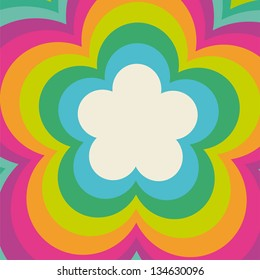 Rainbow flower power cover design.