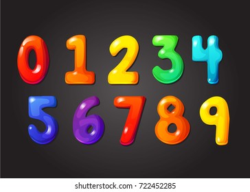 Rainbow font, 123 jelly numeral alphabet. Candy color kid font numbers, numeral character. Set of multicolored alphabet numbers perfectly for any combination. Cartoon kids figures. Vector.