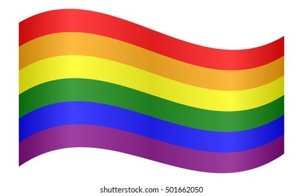 Rainbow gay pride flag. Symbol of LGBT movement. Gay banner, element, background. Correct colors. Rainbow flag waving on white background, vector illustration