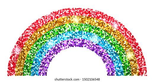 Rainbow glitter. Cute print for kids. Vector illustration.
