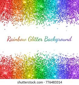 Rainbow glitter on white background, vertical stripes. Vector