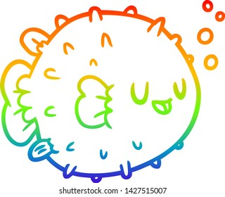 rainbow gradient line drawing of a blowfish