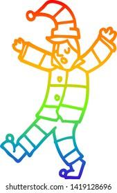 rainbow gradient line drawing of a cartoon man sleepwalking