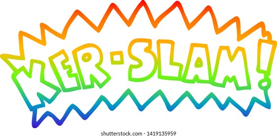 rainbow gradient line drawing of a cartoon words ker slam