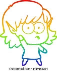 rainbow gradient line drawing of a cartoon elf girl waving