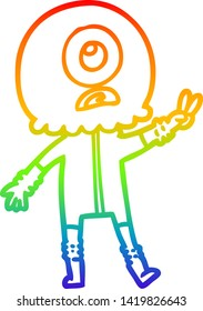 rainbow gradient line drawing of a cartoon cyclops alien spaceman giving peace sign