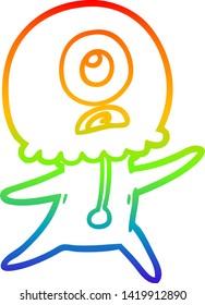 rainbow gradient line drawing of a cartoon cyclops alien spaceman