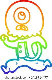 rainbow gradient line drawing of a cartoon cyclops alien spaceman running