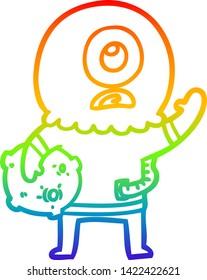 rainbow gradient line drawing of a cartoon cyclops alien spaceman waving